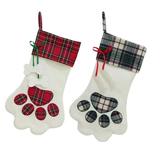Eliky 2 Stück Weihnachtsstrümpfe Pet Hund Pfote Muster Strümpfe Kamin Hängend Strümpfe Für Pet Und Weihnachtsdekoration