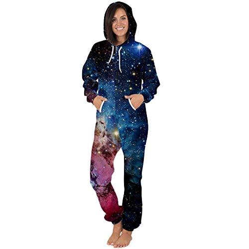 Damen Langarm Jumpsuit Schlafanzug Pyjama Schlafoveralls Winter Onesie Jumpsuit Overall Nachtwäsche Frauen 3D Galaxy Trainingsanzug Reißverschluss mit Kapuze Overalls Kostüm Strampler Freizeitanzug