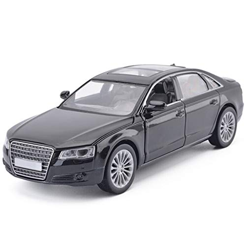 Scala 1:32 in pressofusione Model Car/Compatibile con Audi A8 / Simulazione Lega Model Car con Il Suono e la Funzione della Luce Model Car (Color : Black, Size : 16cm*6cm*4.5cm)