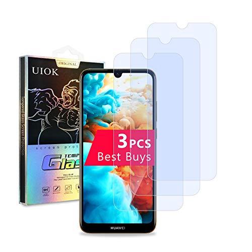 [3 Unidades] UIOK Protector de Pantalla para Huawei Y6 2019 /Huawei Y6s 2019 Cristal Templado, Resistente a Arañazos Vidrio Templado, 9H Dureza/Alta Definicion para Huawei Y6 2019 /Huawei Y6s 2019