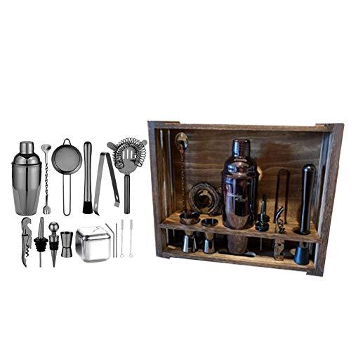 niyin204 Juego de 22 piezas para hacer cócteles con soporte de madera rústica, juego de coctelera de acero inoxidable, juego de herramientas para barman, juego de regalo de cóctel (plateado)