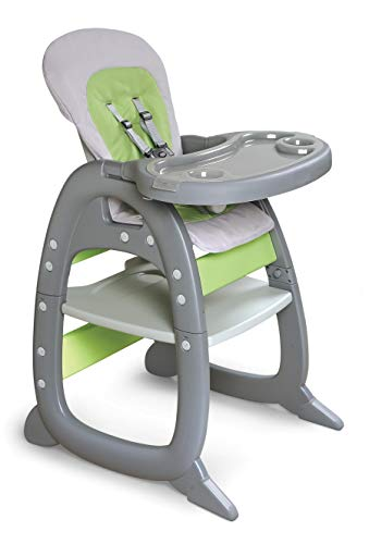 Badger Basket Envee II Baby High Chair with Toddler Playtable & Chair Conversion, Cool Gray/Green