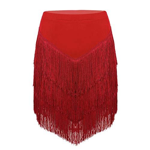 YOOJIA Damen Fransen Tanzrock Latein mit integrierten Shorts Asymmetrische Rock Latin Tango Rumba Ballroom Dancewear Quasten Tanz Kostüm Rot Medium