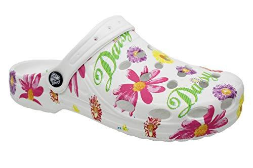 Damen Slobby Eva Clogs | Hausschuhe Gartenclogs | Beruf Pantoletten | Freizeit Sauna Badeschuhe | Fersen Komfort Riemen | Slipper Sandalen Schuhe Gr.36-41 (39 EU)