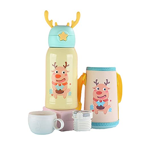 School Water Bottles for Kids Stainless Steel Personalised Small Insulated Metal Drinking Disney Travel Mini Thermos Flasks Penguin Cups with Straw for Hot Drinks Kids Sports Bottle 500ml (?????)