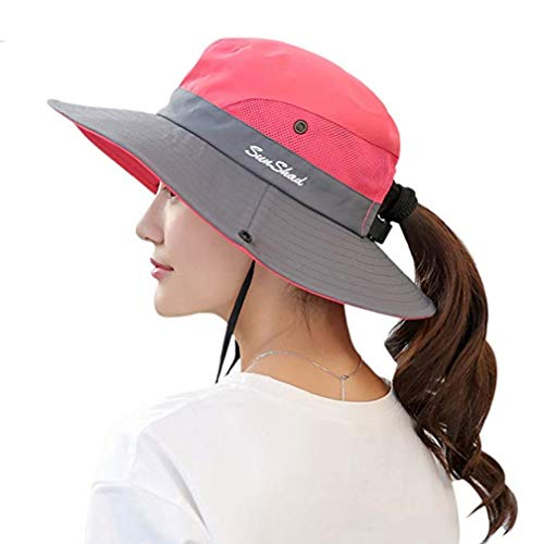 UPF 50+ Wide Brim Sun Hat Waterproof UV Protection Bucket Boonie Hat for Women Watermelon Red