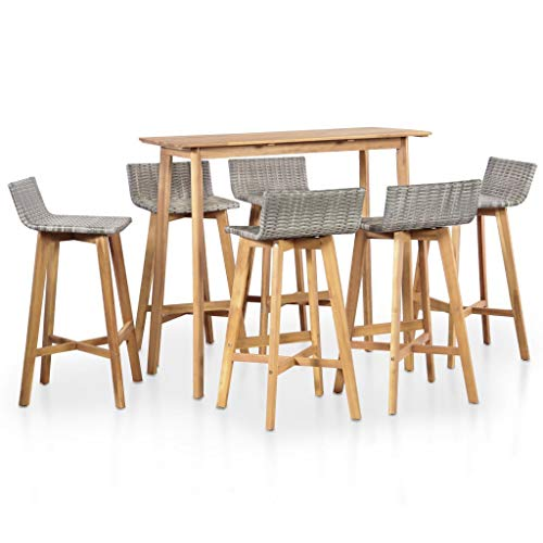 vidaXL Outdoor Bar Set 7 Piece Poly Rattan Solid Acacia Wood Patio Table Chair