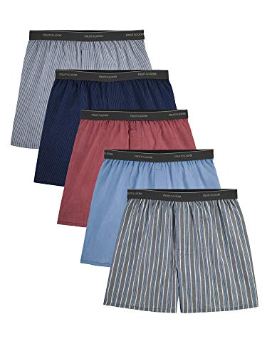 Fruit of the Loom Herren Woven Tartan and Plaid Boxer 5-Pack Unterwäsche, Mehrfach (freiliegender Bund), Large (5er Pack)