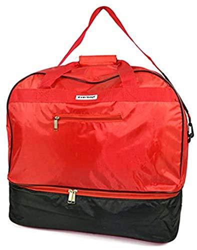 Vetrineinrete Borsone sport da palestra con porta scarpe borsa sportivo calcio piscina 43x49x26 cm con chiusura zip unisex 22927 (Rosso) F57