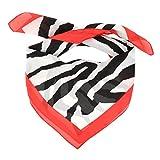 Pañuelo Cuadrado Mujer Rojo estampado Animal Cebra y Leopardo - Fular Cuadrado Grande 70x70cm - Bufanda Suave Fina y Ligera mirada Satén - Foulard Original Moderno y Tendencia