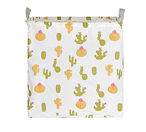 ROMDEANK Cesto portaoggetti in Tessuto di Tela Cesto portaoggetti Pieghevole in Cesto della Biancheria Organizzatore Secchio,Interno Impermeabile,Cactus bianco,40X 40 X 55CM