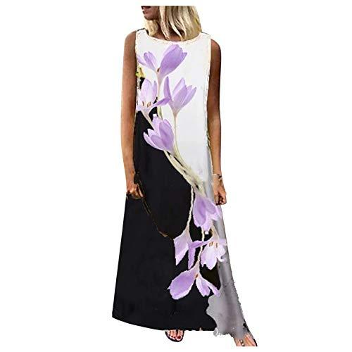 YANFANG Vestido de Moda de Costura con Estampado de Mariposas y Flores sin Mangas con Cuello Redondo para Mujer Largo Talla Grande Casual cóctel