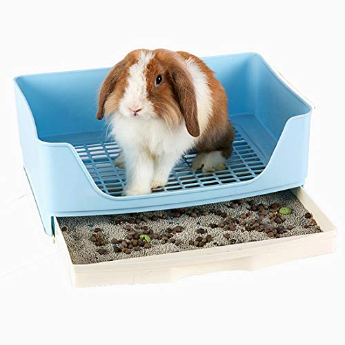 RUBYHOME Oversize Rabbit Litter Box with Drawer, Corner Toilet Box with Grate Potty Trainer, Bigger Pet Pan for Adult Guinea Pigs, Chinchilla, Ferret, Galesaur, Small Animals, 16.9 inch Long (Blue)