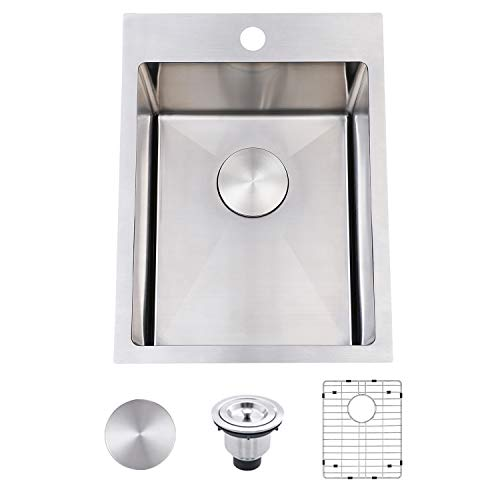 """SHACO Commercial 15""""x 20"""" Inch 18 Gauge Drop In Single Bowl Basin Handmade SUS304 Stainless Steel Topmount Kitchen Sink,Modern Prep Brushed Nickel Bar Sink With Accessories"""