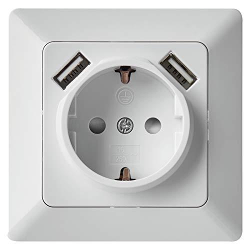 EMOS A6000.1 encastrable Schuko-Prise de Courant avec 2 Ports USB-5 V / 2,1 A-pour Chargement de téléphone Portable ou de Smartphone-Blanc