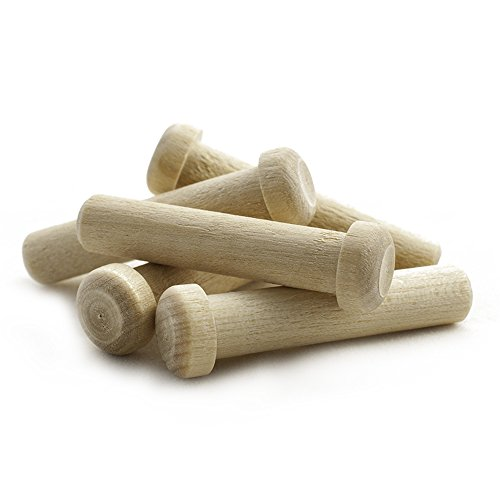 Wooden Axle Pegs for 3/8' Hole, 1-13/16' Long Wood Toy Wheel Pegs - Bag of 25