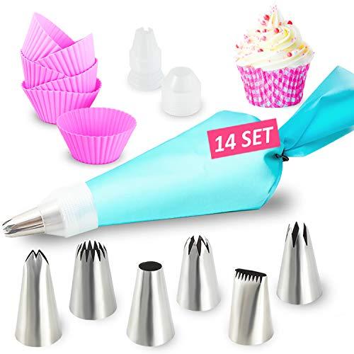 Homtrix Spritztüllen Set - Spritzbeutel Silikon mit 6 große Edelstahl Tüllen + Cupcake Förmchen - Backset für Torten, Kuchen & Cupcakes Deko