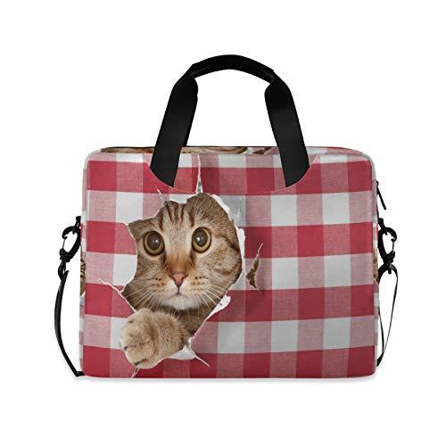 JNlover Laptoptasche mit süßem Katzengitter und Katzengitter für 16 Zoll (40,6 cm), tragbare Hülle, Aktentasche, Laptoptasche, Notebook, Computer, Tragetasche für Damen und Herren