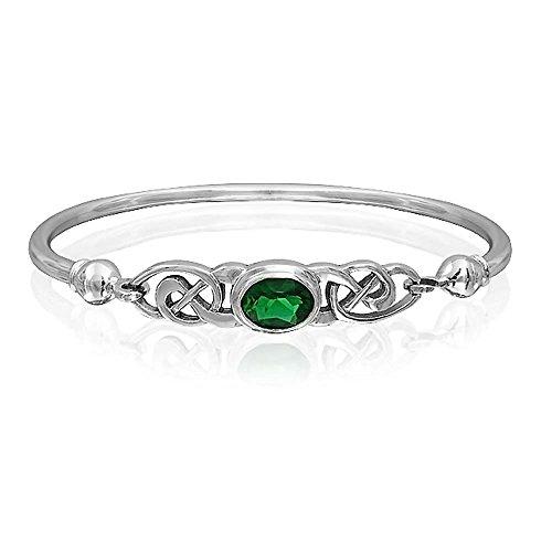 Bling Jewelry Braut Keltische Liebe Knoten Armreif Armbänder Für Frauen Kelly Grün Oval Zirkonia Cz 925 Sterling Silber 7 Zoll