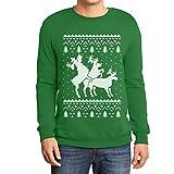 Shirtgeil Christmas Ugly Sweater Renne Natale Threesome Sex Felpa/Maglione da Uomo Large Verde