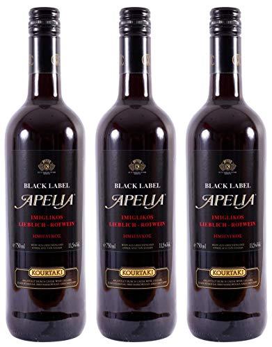 3x 0,75l Black Label Apelia | Lieblicher Rotwein | Imiglykos | 11,5% Vol. | Kourtaki | + 1 x 20ml Olivenöl
