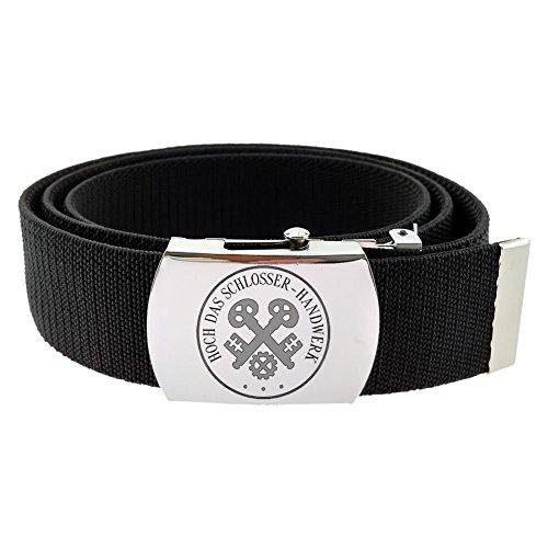 Gravurmanufaktur Hosengürtel Schlosser Handwerk und Zunftzeichen - Textilgürtel 4cm schwarz - Länge 120 cm - kürzbar
