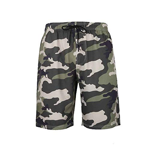 Enhome Shorts de Playa para Hombre, Camuflaje Shorts de baño Bañadores de Hombre Cortos Respirable Secado Rápido Verano Bañador de Surf Pantalones para Deporte Natacion Surferos (3XL,Ejercito Verde)