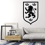 Tianpengyuanshuai Logo Etiqueta de la Pared Heráldica Emblema Medieval Lion Crown Vinilo Etiqueta de la Pared Cool 50X74cm