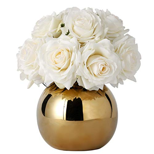 NNR Artificial Flowers Artificial Flowers Artificial Silk Rose Flowers Bouquets Decoration with Gold Vase for Table Home Office Wedding(White) Home Decoration (Color : White) Silk Flower Arrangements