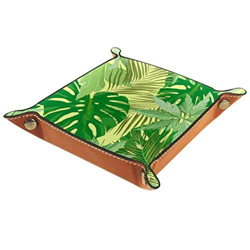 Leder Valet Tray, Würfel Tray Folding Square Holder, Kommode Organizer Platte für Wechsel Münzschlüssel Jungle Leaf Tropical