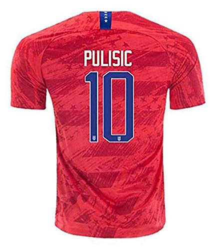 2019/2020 4 Star USA Team 10 Pulisic Soccer Away Mens Jersey T-Shirts Color Red XL