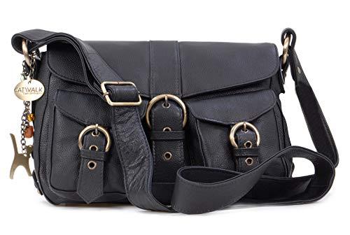 Catwalk Collection Handbags - Leder - Umhängetasche/Schultertasche - LOUISA - Schwarz