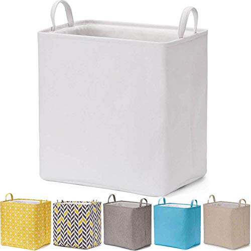 Every Deco Rectangular Storage Bin Laundry Basket with Handles Foldable Collaspible Toys Clothes Books Magazines Arts and Crafts  157quot x 118quot x 157quot  White