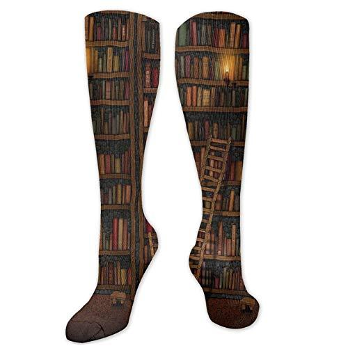FETEAM Estantería de biblioteca, novedad vintage, calcetines de vestir geniales, calcetines largos, calcetines altos de compresión transpirables y cómodos, 2 Pares