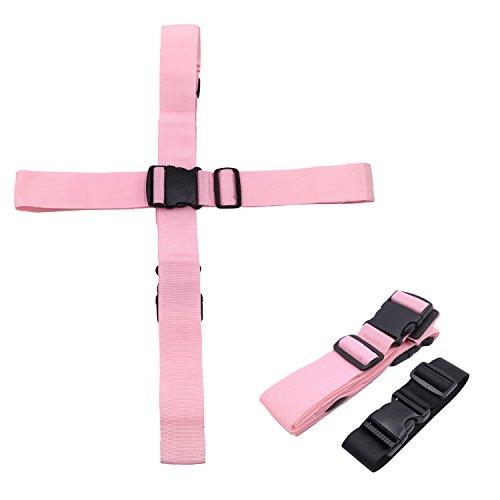 Kalevel 2本 スーツケースベルト 十字 と バッグとめるベルト ワンタッチ式 荷物固定 ベルト バンド スーツケース バッグ 梱包 旅行用 荷物 ストラップ 便利グッズ 調整可能(ピンク)