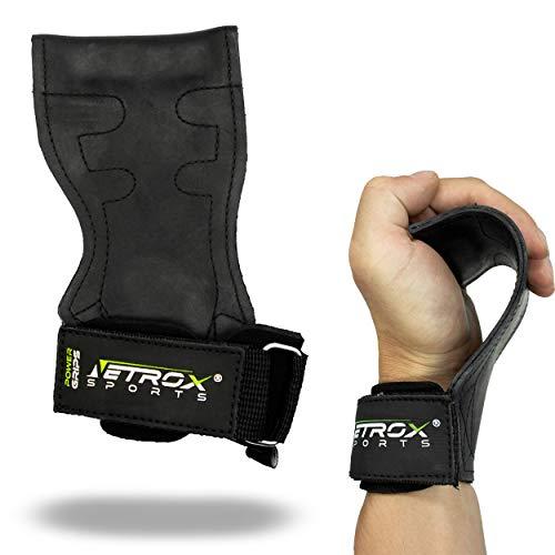 NetroxSports® - Power Grips | Professionelle Zughilfen mit extra Grip | Für Bodybuilding, Gewichteheben, Kraftsport, Krafttraining & Fitness | für schwere Gewichte | Herren & Damen (Schwarz, L)