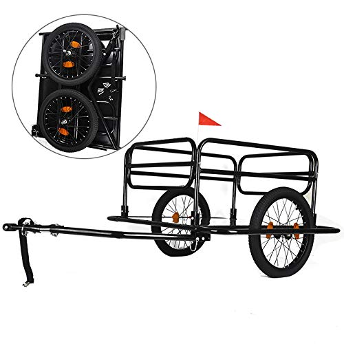 Lowest Price! AXABING Outdoor Bike Trailer Bike Wheels Wanderer Foldable Pet Car Carrier Bicycle Cargo Luggage Trailer