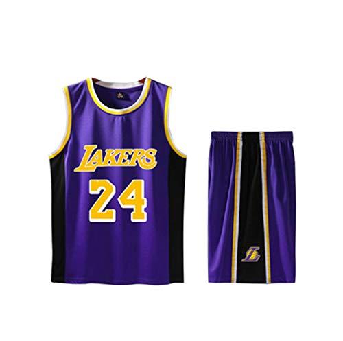 LJWLCH Basketball Trikot Kobe Bryant # 24 Kinder ärmellosen Anzug, Jungen und Mädchen Sportswear Schule Sommer T-Shirt + Shorts Jugend Sweatshirt Unisex lila-20