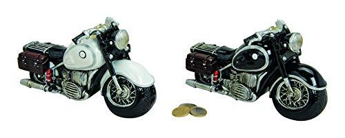 Spaarpot motorfiets chopper Old Style deco spaarvarken boekje van polyhars zwart/wit ca.20x9x11 cm