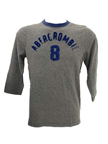 Abercrombie & Fitch Hombre Camisetas de Manga Larga (Gris, X-Large)