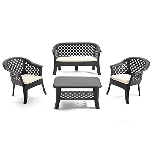Mojawo Praktisch und Schön! Garten Lounge Set 2 Sessel + Tisch + Sofa Anthrazit Rattan-Optik inkl. Aller Polster