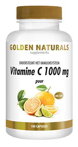 Golden Naturals Vitamine C 1000 mg puur (180 veganistische capsules)