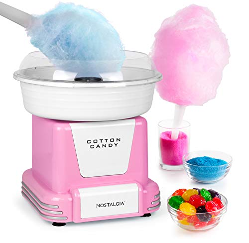 Nostalgia PCM805PNK Retro Hard Free Countertop Original Cotton Candy Maker, Includes 2 Reusable Cones and Sugar Scoop, Pink