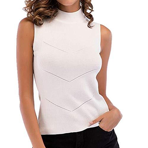 Tinta unita con bretelle piccole e gilet a maglia per le donne bianco XXL