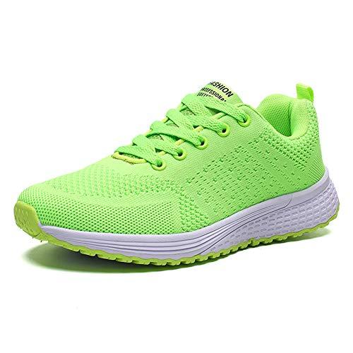 Decai Zapatillas de Deportivos de Running para Mujer Deportivo de Exterior Interior Gimnasia Ligero Sneakers Fitness Atlético Caminar Zapatos Transpirable Verde 41 EU