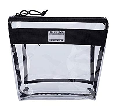 Rough Enough Large Clear TSA Approved Toiletry Bag Cosmetic Makeup Organizer Pouch Travel Accessories Essentials Storage Zipper Carry on Bag Case Holder for Men Women School Sport Beach Boy Girl Teen