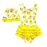 2pcs Maillot de bain Bebe Fille 12mois 18mois 2 3 4 5 ans anti-UV avec Bonnet Bikini Bebe Lavable Couche de Bain Motif Canard à Séchage Rapide Combinaison bébé maillot de Plongée (M(18-24mois), jaune)