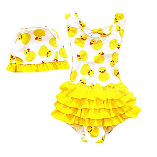 Baby Girls Cute Swimsuit Sun Protection Bathing Suit Toddler Newborn Swimwear Cartoon Duck Tiered Dress Hat Beach Cover Up (Yellow, 12-18 Months)