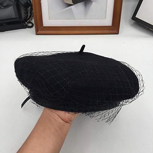 N-N Boina De Mujer para con Gasas Y Redes sobre El Perodo De Primavera Y Otoo Y La Boina De Pintor Moda Sombrero-Negro