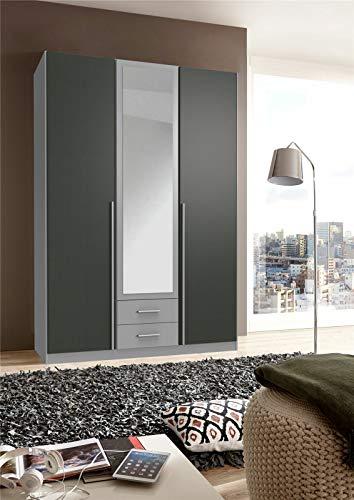 Germanica - Armario de 4puertas, color gris y blanco